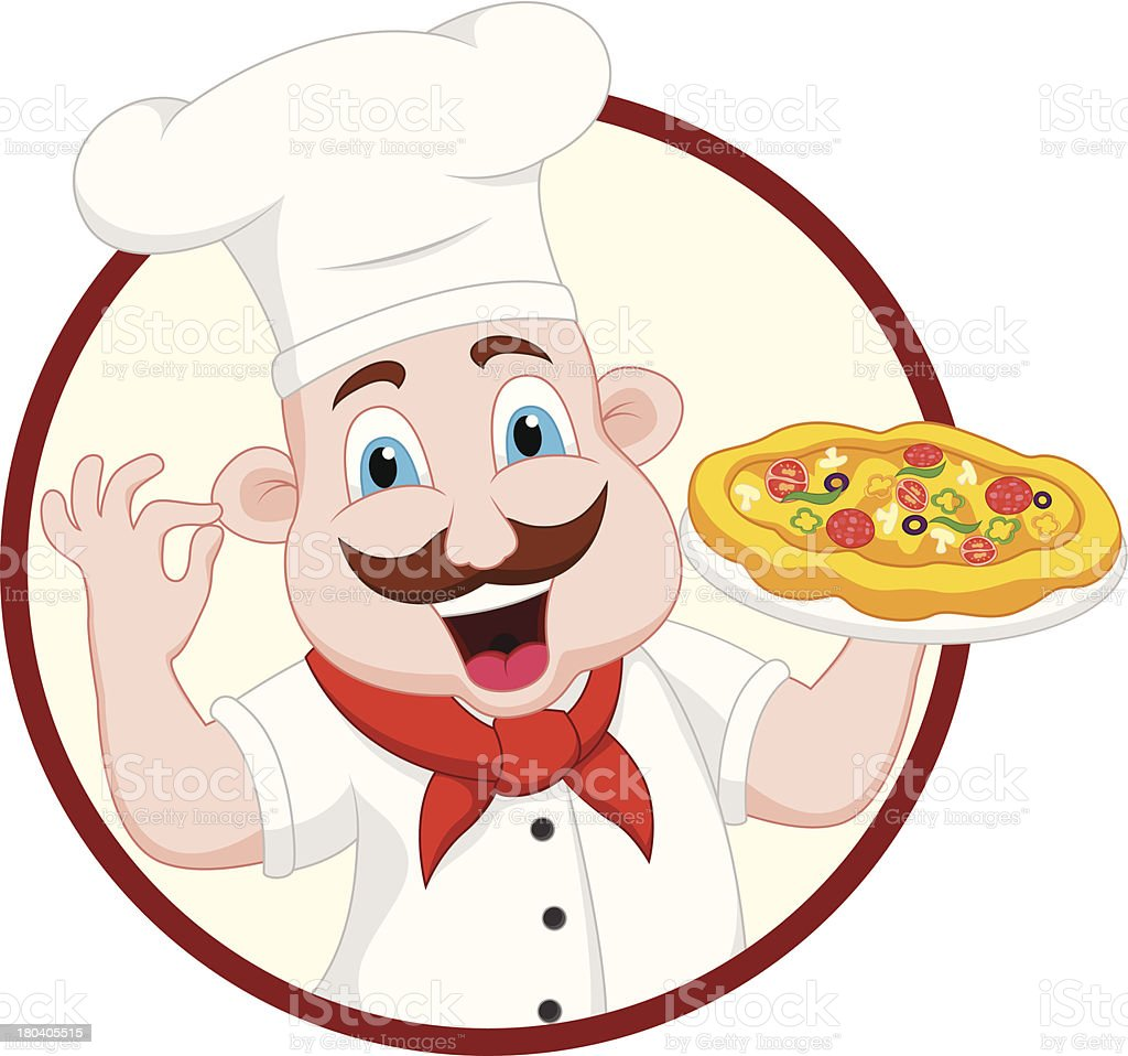 Cartoon Chef Character With Pizza royalty-free stock vector art