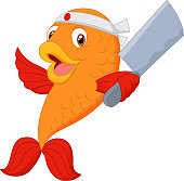 Cartoon chef fish holding carver