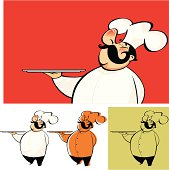 Chef serves his specialty, useful to add text or images. Three variations.