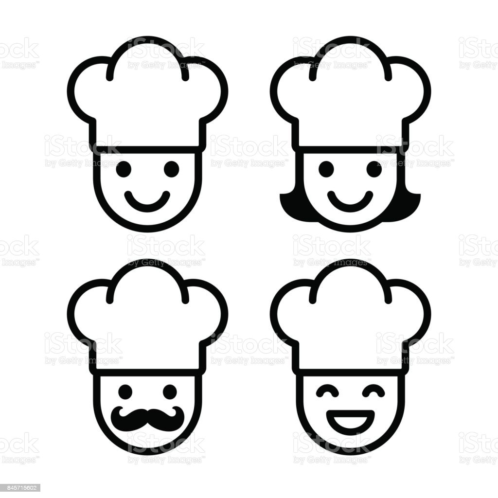 Cartoon chef icon set vector art illustration