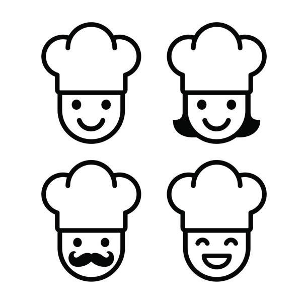 cartoon chef icon set - woman cooking stock illustrations
