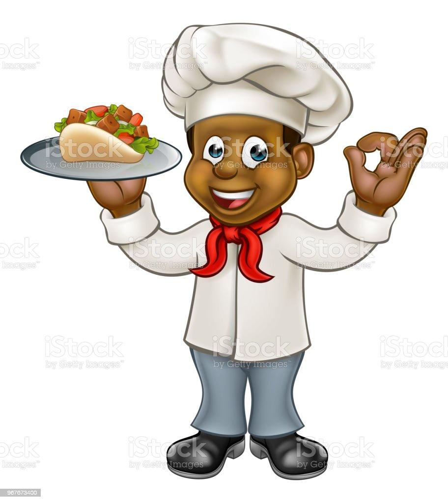 Cartoon Chef Kebab vector art illustration