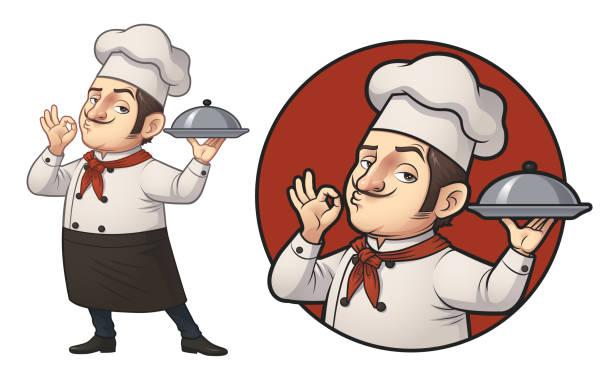ilustrações de stock, clip art, desenhos animados e ícones de cartoon chef logo illustration - cooker happy