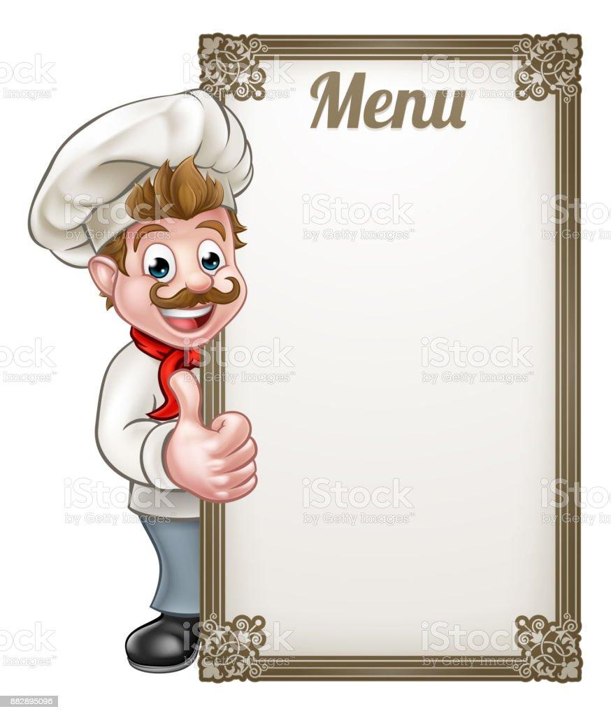 ilustraci243n de men250 chef de dibujos animados y m225s banco
