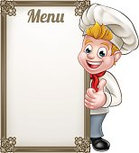 Cartoon chef or baker character giving thumbs up with menu sign board