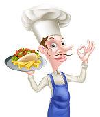 An Illustration of a Cartoon Chef Perfect Kebab