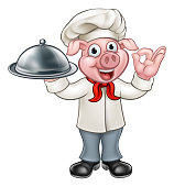 A cartoon chef pig character mascot holding a silver platter cloche food dome tray and doing a perfect hand gesture