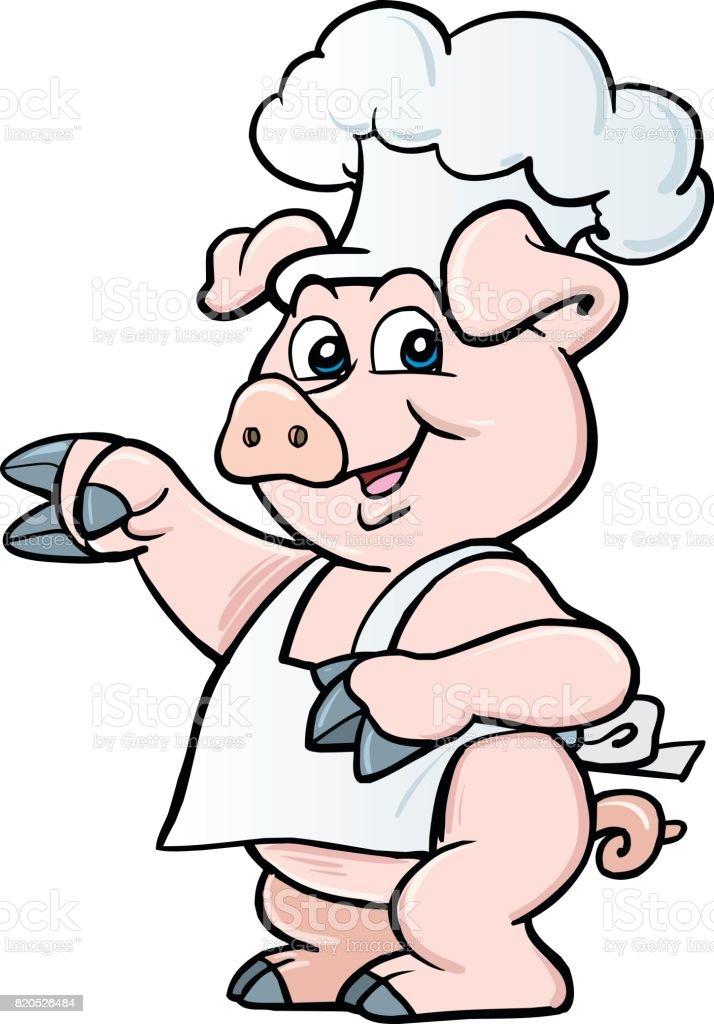 Cartoon chef pig vector art illustration