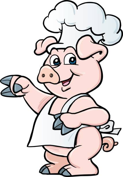 Cartoon chef pig - illustrazione arte vettoriale