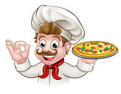 A cartoon chef character holding pizza