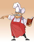 cartoon smiling chef stands and looks in the book