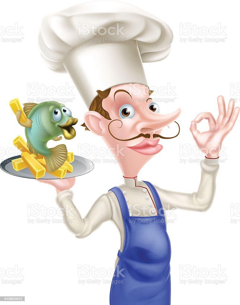 ilustração de chefe dos desenhos animados com peixe e batata