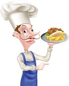 An Illustration of a Cartoon Chef With Pita Kebab and Fries