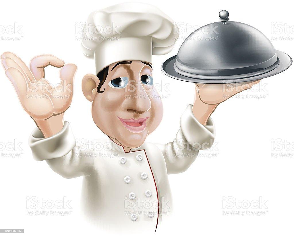 Chef cuisinier de dessin anim avec plateau de service - Chef cuisinier dessin ...
