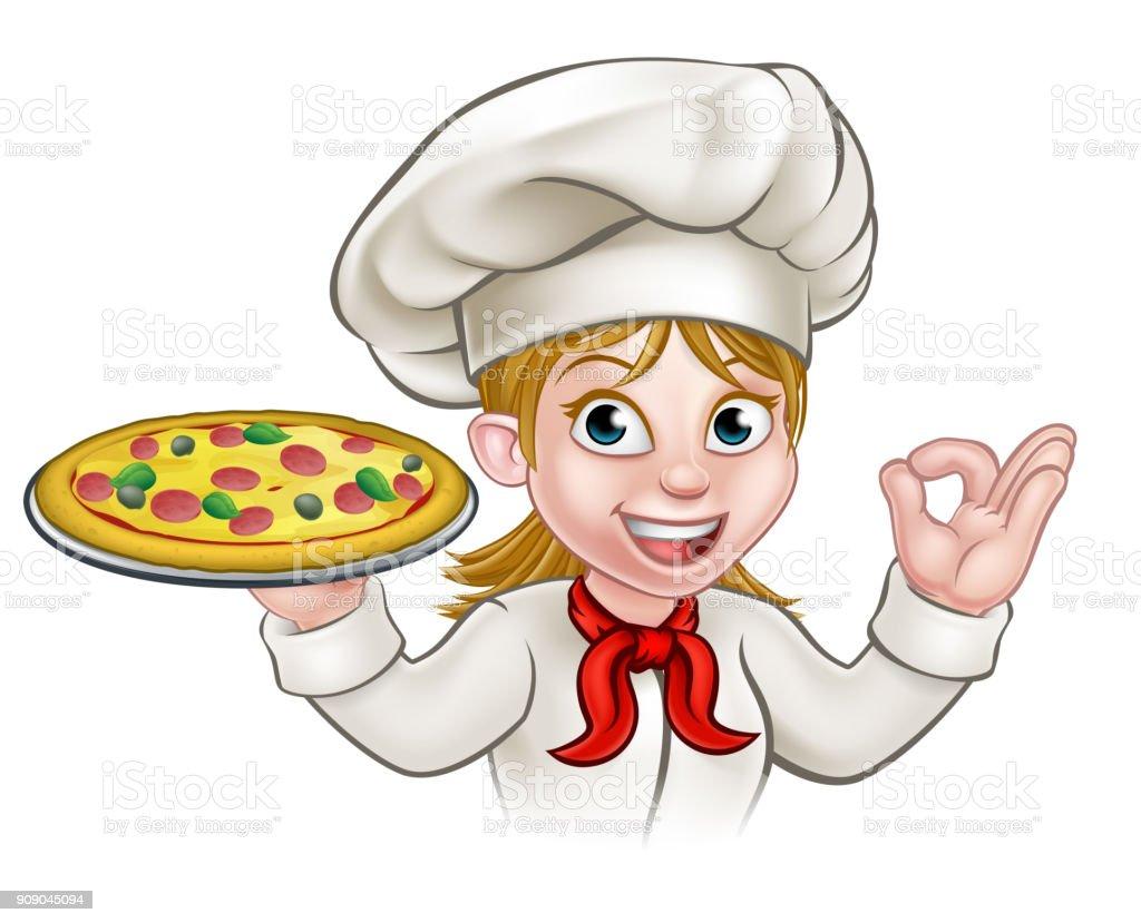 Ilustración De Caricatura Chef Mujer Y Pizza Y Más