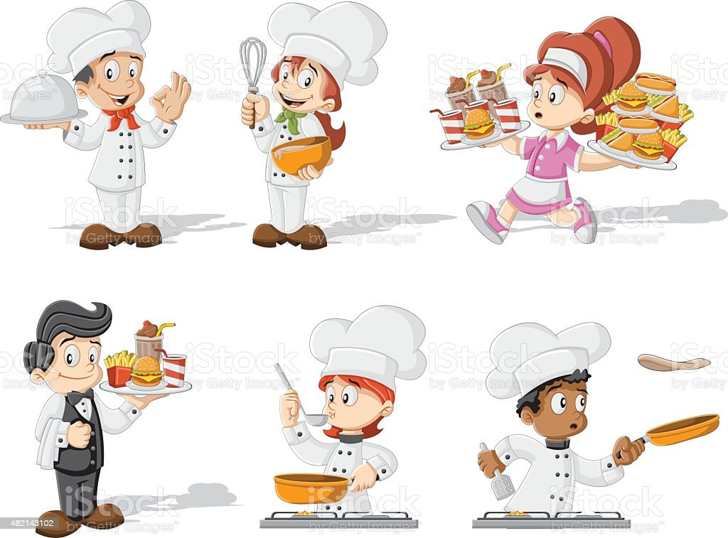 Cartoon chefs cooking vector art illustration