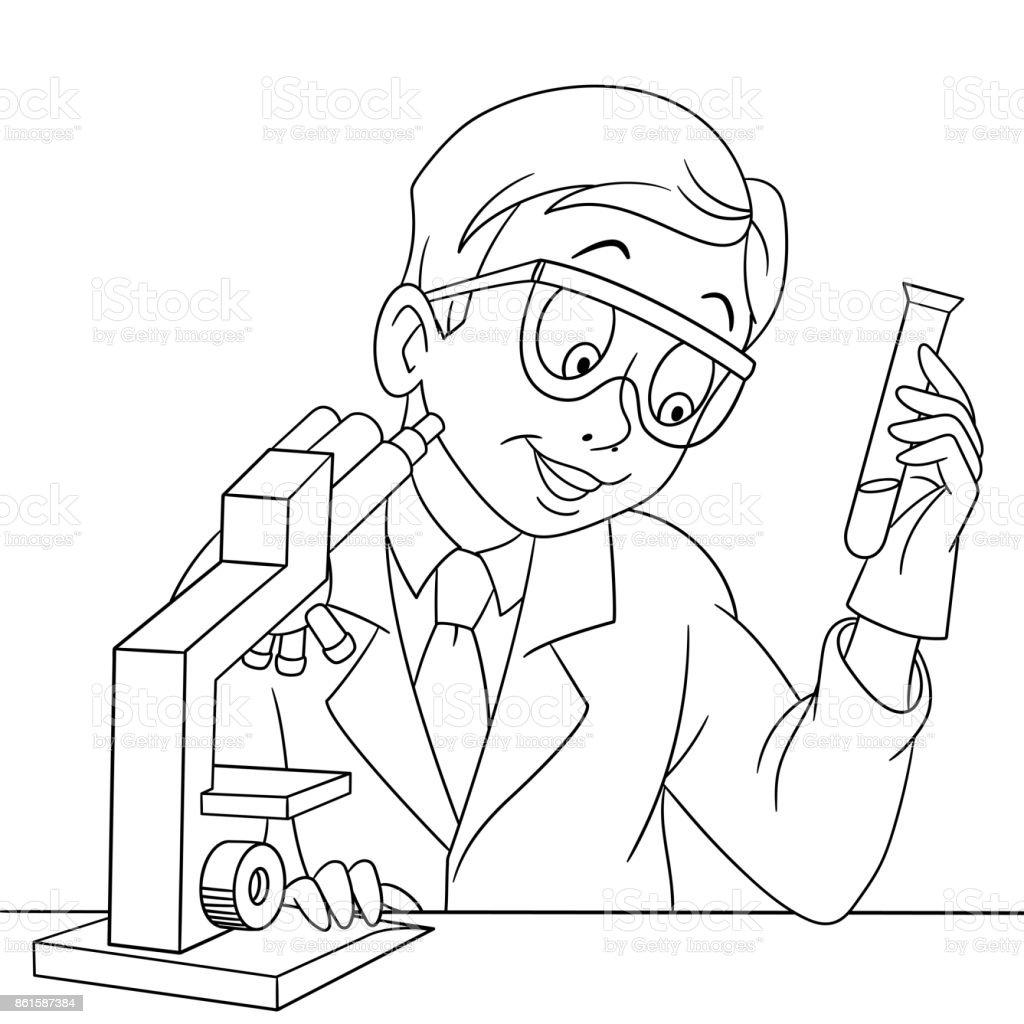 Ilustración De Científico Química Dibujos Animados Y Más