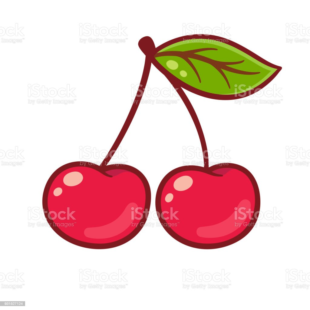 Cartoon cherry drawing