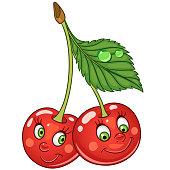 Cherry twins. Happy fruit concept. Funny emoticon idea.