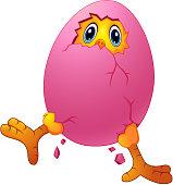 Vector illustration of Cartoon chick cracked eggshell