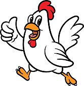Cartoon Chicken Giving a Thumbs Up Vector Illustration