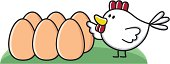 vector illustration of a cartoon chicken with six eggs