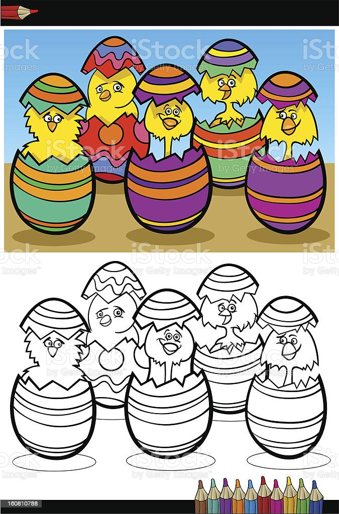 cartoon chicks in easter eggs coloring page royalty-free cartoon chicks in easter eggs coloring page stock vector art & more images of animal