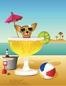 Cartoon Chihuahua Sitting in Large Margarita Glass on Beach