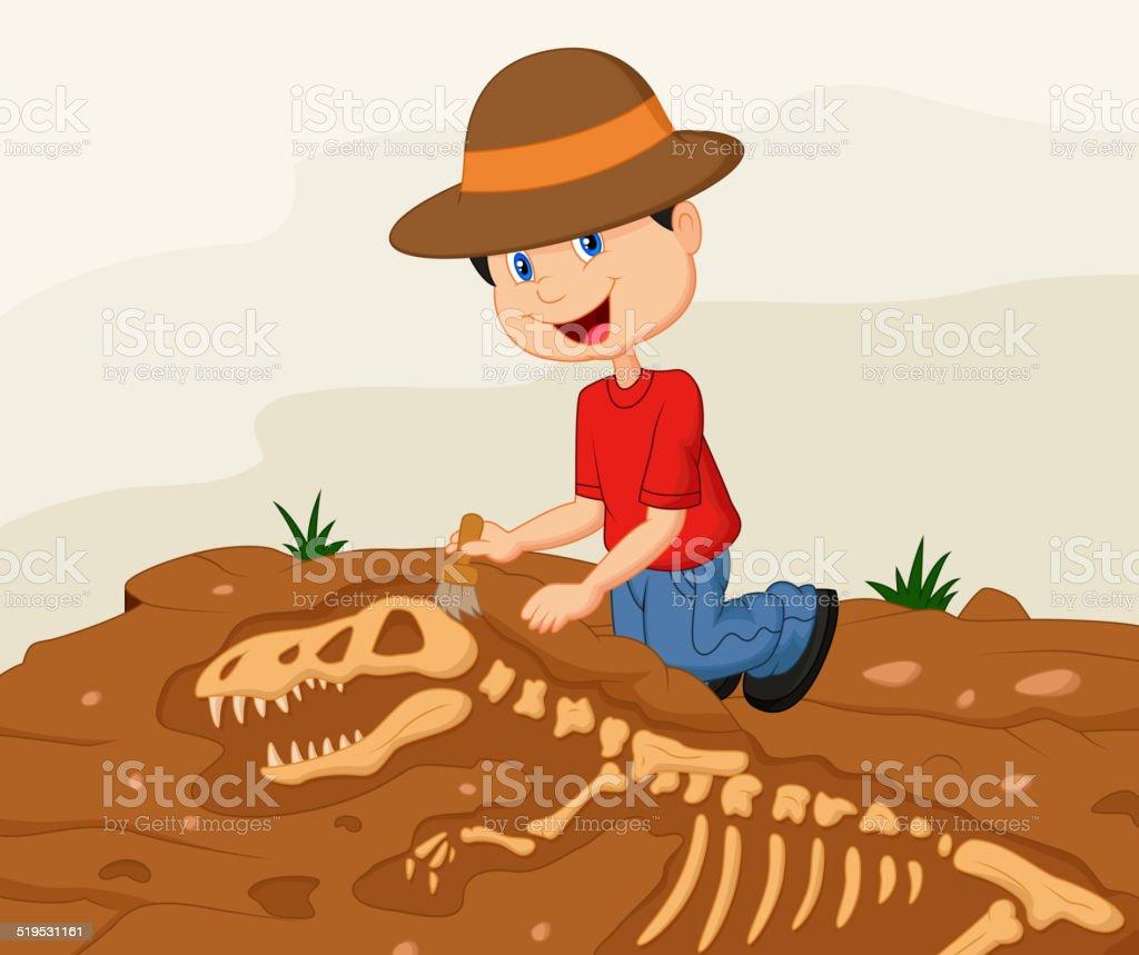 Cartoon Child archaeologist excavating for dinosaur fossil