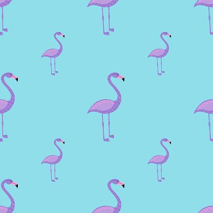 Cartoon childish style seamless pattern with pastel purple flamingo print. Blue background. Zoo backdrop.