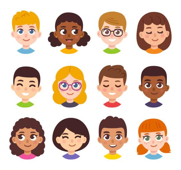 cartoon kinder avatar-set - kind stock-grafiken, -clipart, -cartoons und -symbole