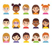 Cartoon children avatar set. Cute diverse kids faces, vector clipart illustration.