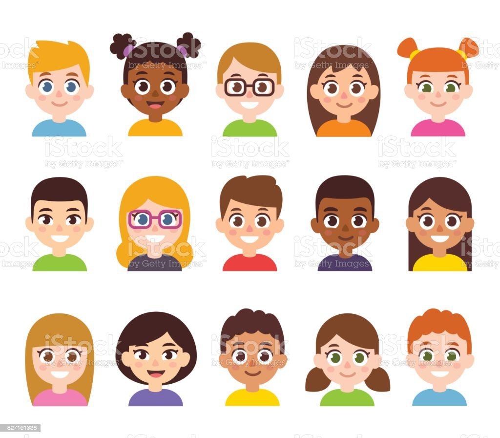 Cartoon children avatar set vector art illustration