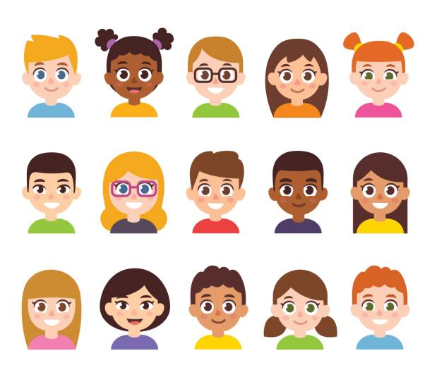 cartoon children avatar set - cartoon kids stock illustrations, clip art, cartoons, & icons