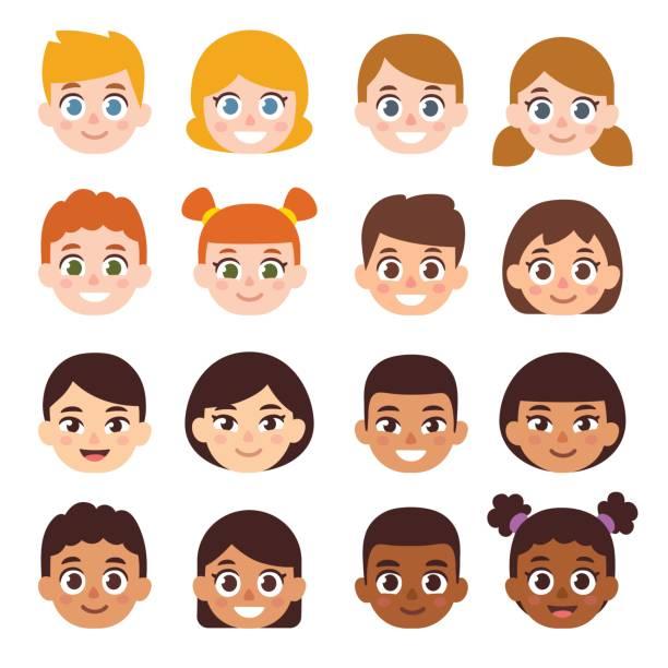 illustrazioni stock, clip art, cartoni animati e icone di tendenza di cartoon children avatar set - couple portrait caucasian