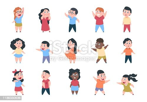 Cartoon children. Boy and girl school characters, set happy little child, elementary school group. Vector student kids collection