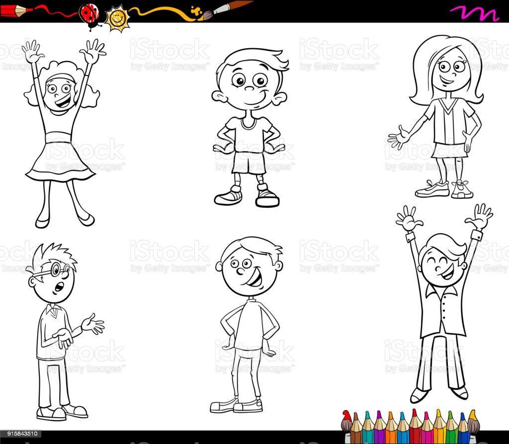 Ilustración De Personajes De Los Niños De Dibujos Animados