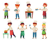 Cartoon children cooks. Little chief cook, child cooking food and young kitchen chiefs. Restaurant food preparing, teenage bakery chef or kid culinary character. Vector illustration isolated icons set