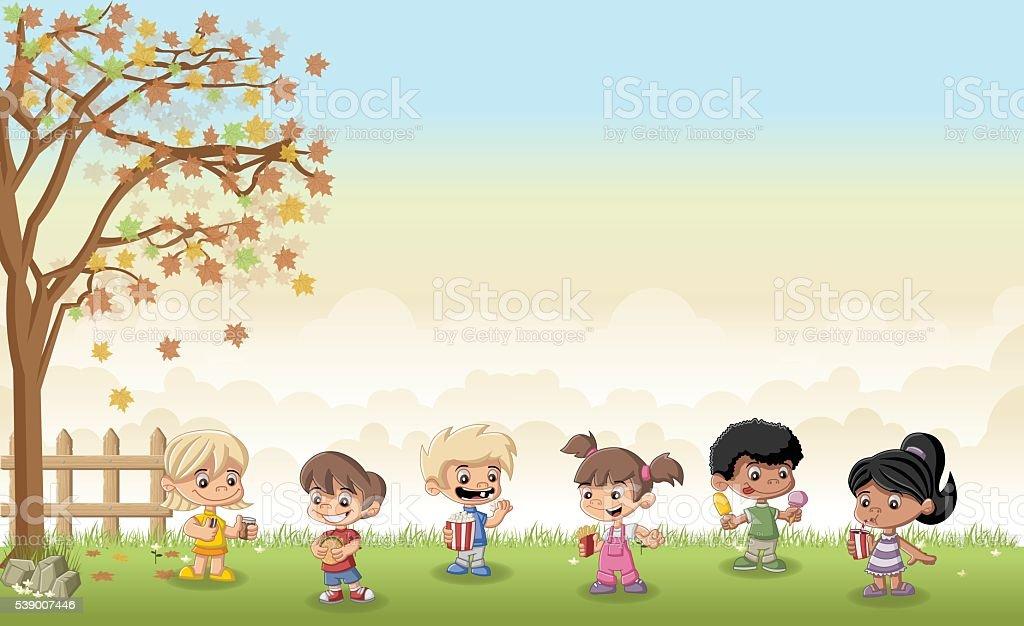 Cartoon Children Eating Junk Food Stock Illustration Download