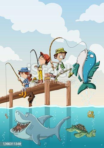 Cartoon children fishing on wooden pier.