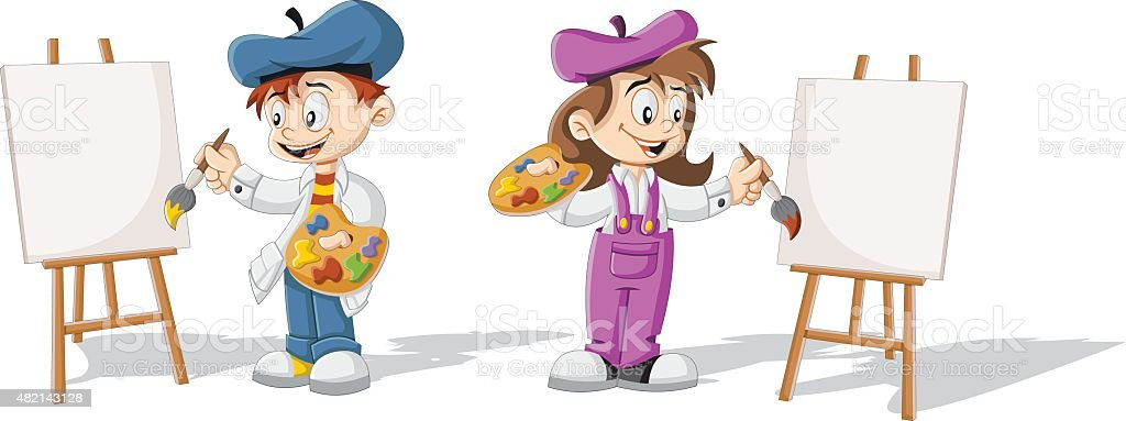 Cartoon children painting vector art illustration