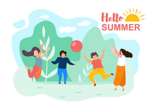 ilustrações, clipart, desenhos animados e ícones de cartoon crianças jogar bola ensolarado dia de verão parque - brincadeira