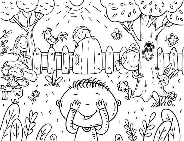 Cartoon children playing hide and seek in the garden, coloring page vector art illustration