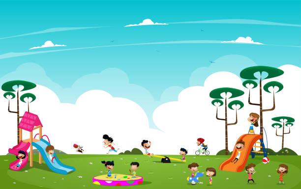 Cartoon children playing in the playground vector art illustration