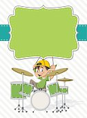 cartoon children playing rock'n'roll on drums