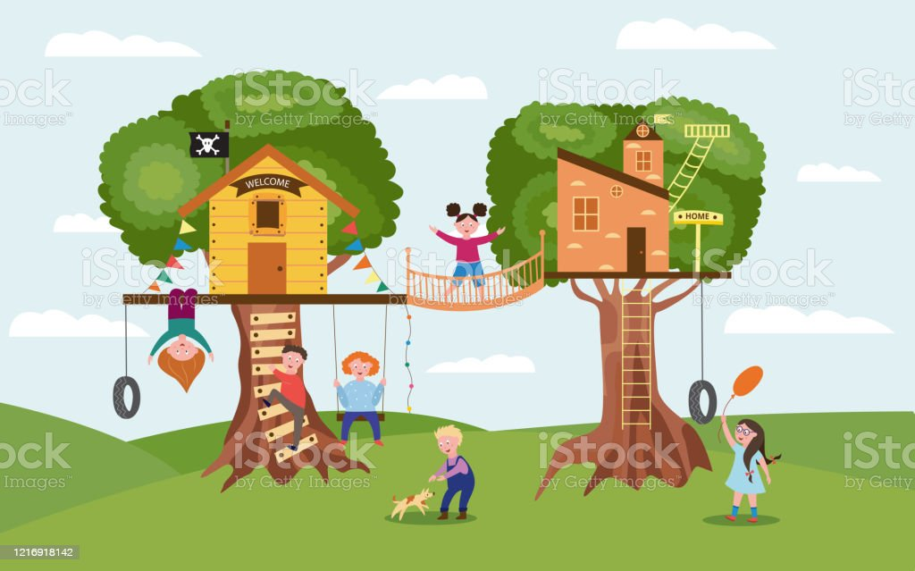 Cartoon Children Playing Together On Fun Tree House Playground Stock Illustration Download Image Now Istock