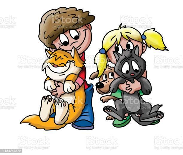 Cartoon children playing with their pets vector illustration vector id1134746772?b=1&k=6&m=1134746772&s=612x612&h=s6mqz3cd91dls7wlctvpqt rue2ukqozdnk4i7vw9ww=