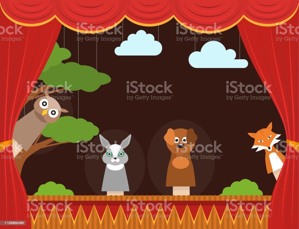 Cartoon Children Puppet Theater Background Card. Vector - Grafika wektorowa royalty-free (Bajka)
