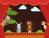 Cartoon Children Puppet Theater with Curtain Background Card Show, Entertainment or Performance Concept Flat Design. Vector illustration