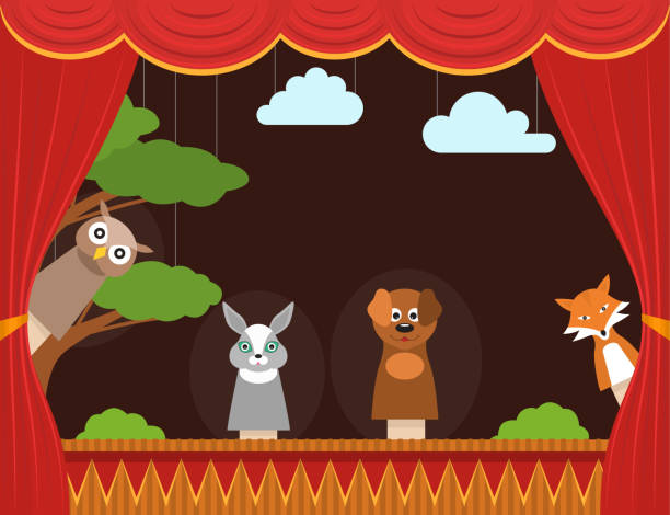 cartoon children puppet theater background card. vector - kukiełka stock illustrations